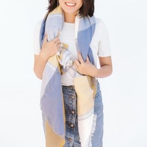 Accessories - Beverly Plaid Blanket Scarf Cozy Wide Blue/Yellow